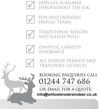 Contact Willow Brook Reindeer hire 01244 747 686